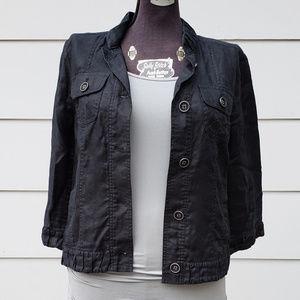 Chico's Lightweight Black Linen Button Jacket - 1